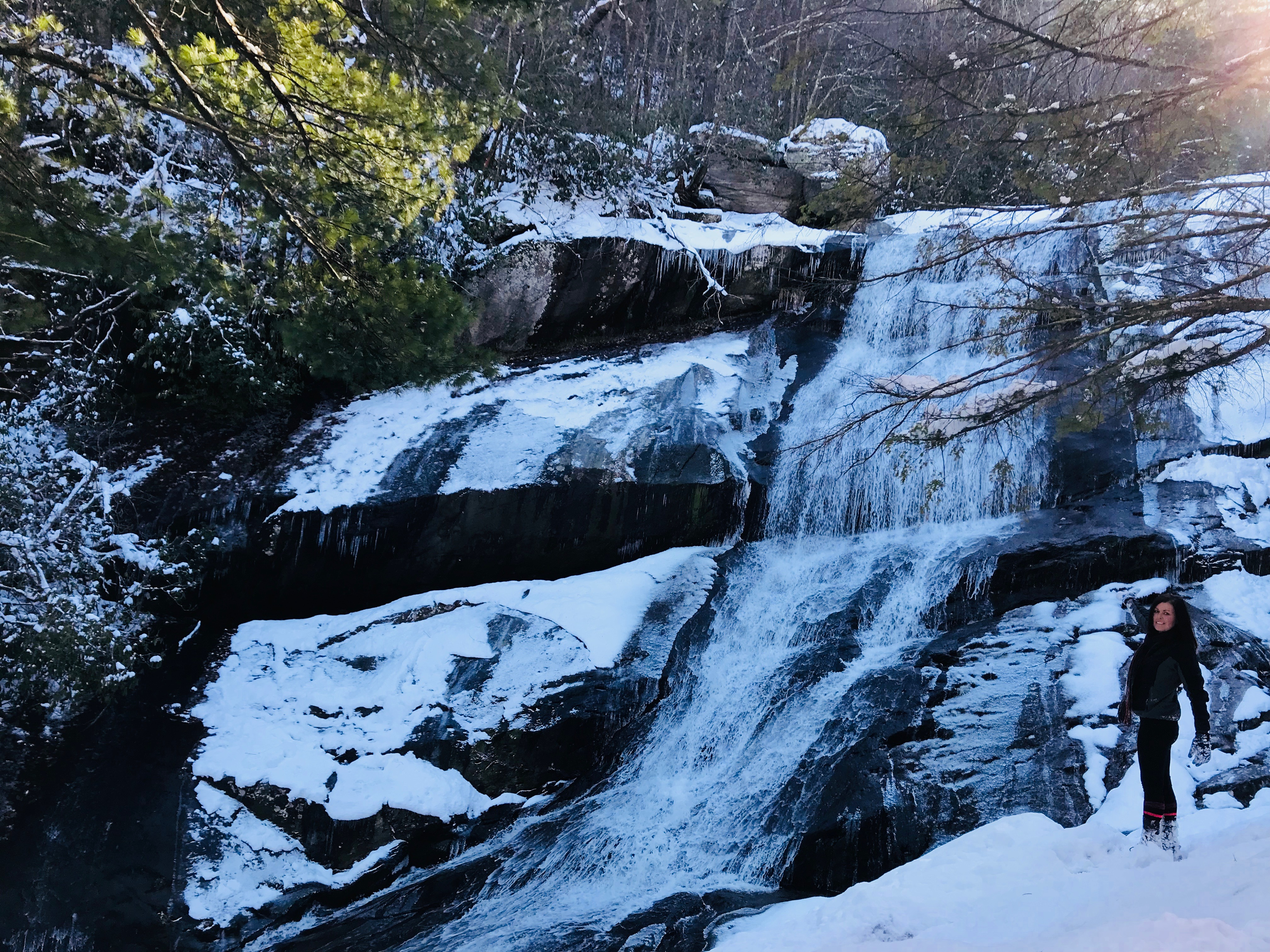 Winter Waterfall Blue Ridge Parkway Cabin Rentals