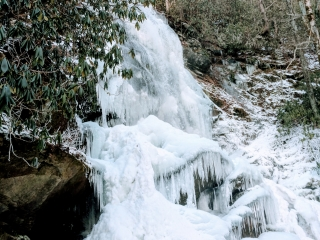 frozen waterfall in the woods