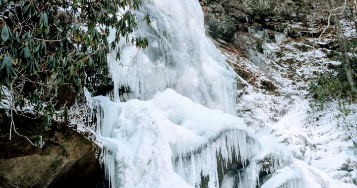 frozen waterfall in the woods